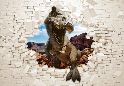 Papiers peints 3d picture dinosaur in a broken wall