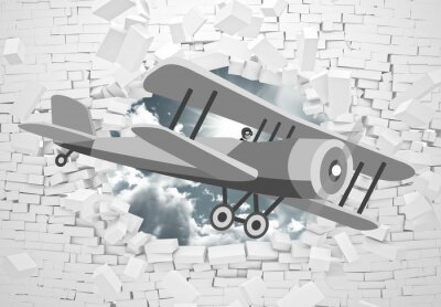 Papiers peints 3d picture of a gray plane flying through a brick wall