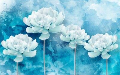 Papiers peints 3d picture of blue flowers on a blue background