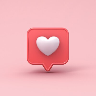 Papiers peints 3d realistic love like heart social media notification icon on pink pastel color background with shadow 3D rendering