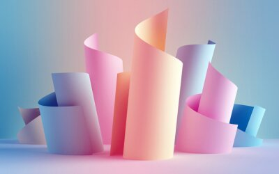 Papiers peints 3d render, paper ribbon rolls, abstract shapes, fashion background, swirl, pastel neon scrolls, curl, spiral, cylinder
