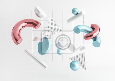 Papiers peints 3D rendu composition de primitives réalistes. Formes volantes en mouvement isolé sur fond blanc. Thème abstrait pour les dessins à la mode. Sphères, tores, tubes, cônes de couleur bleu métallique et r