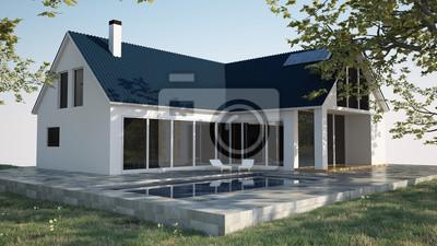 3d rendu maison ext rieur papier peint papiers peints for Exterieur maison 3d
