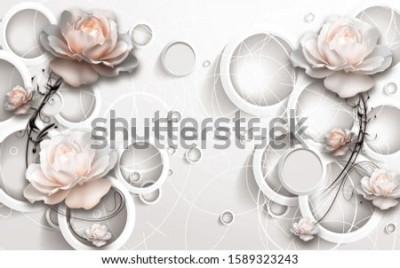 Papiers peints 3D Rings and Flowers wallpaper