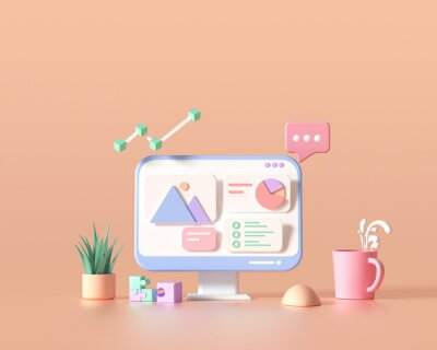 Papiers peints 3D SEO Optimization, web analytics and seo marketing cncept. 3d render illustration