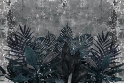 Papiers peints 3d wallpaper, blue leaves of houseplants on concrete wall textured background. The original panel will turn your room in with the most recent world trends in interior fashion.