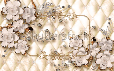 Papiers peints 3d wallpaper design with ceramic jewels and flowers for photomural