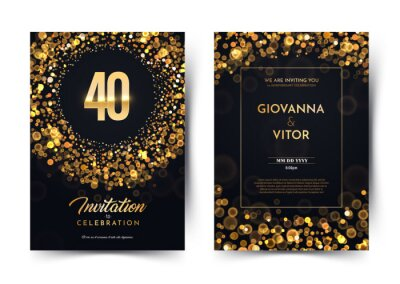 Papiers peints 40th years birthday vector black paper luxury invitation double card. Fourty years wedding anniversary celebration brochure. Template of invitational for print dark background with bokeh lights.