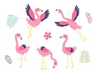 5 cute flamingos