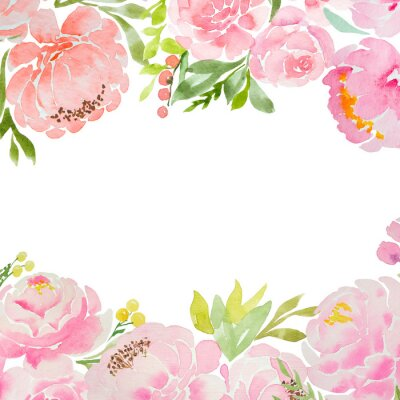 Papiers peints A beautiful square blank for a card with careless watercolor pink peonies and roses and a white background. For a wedding, a birthday. Delicate pastel colors for design.