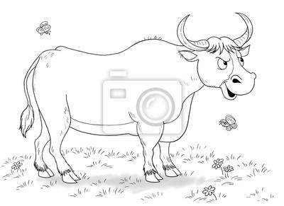 Coloriage Animaux Taureau.A La Ferme Animaux Domestiques Illustration Dun Taureau Drole