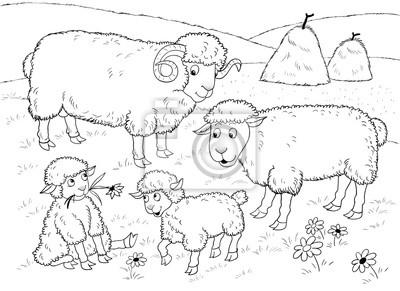 Papiers Peints à La Ferme Famille De Moutons Mignons Illustration Pour Enfants