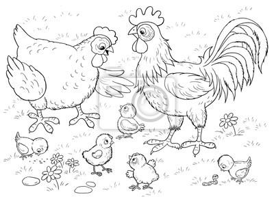 Coloriage Bebe Poussin.Papiers Peints A La Ferme Jolie Poule Coq Et Leurs Poussins Illustration