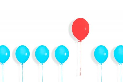 Papiers peints A row or line of blue balloons with one red in between. Pop art design, creative festive concept. Standing out from crowd, individuality and difference concept. Copy space.