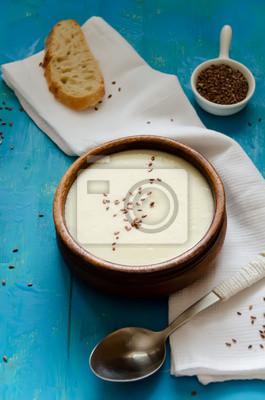 à soupe de purée de céleri-rave aux graines de lin