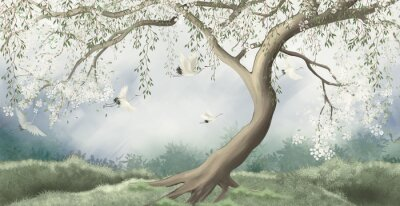 Papiers peints A tree in the fog with a crane flying. For interior printing.