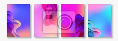 Papiers peints A4 couleur abstrait 3d papier art illustration jeu. Couleurs de contraste. Mise en page de conception de vecteur pour bannières, présentations, flyer