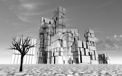 abandonné concept de ville en illustration du désert