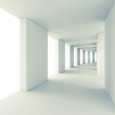 Papiers peints Abstract architecture 3d, couloir blanc vide
