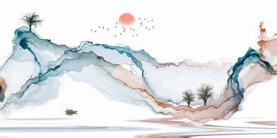 Papiers peints Abstract background ink line decoration painting landscape artistic conception
