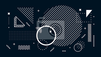 Papiers peints Abstract dark background. Geometric shapes, black and white minimal memphis. Digital modern tech, futuristic geometrical abstract backdrop or wallpaper vector illustration
