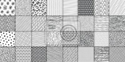 Papiers peints Abstract hand drawn geometric simple minimalistic seamless patterns set. Polka dot, stripes, waves, random symbols textures. Vector illustration