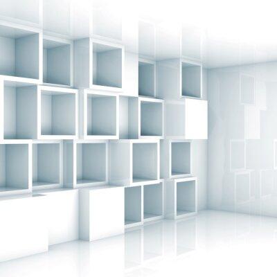 Papiers peints Abstract interior 3d vide, White Cube étagères vides sur le mur