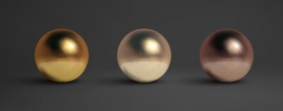 Papiers peints Abstract metal balls set. Pearl, black metal,brass,silver. Vector golden sphere isolated object on black. Chrome sphere silver metal ball.