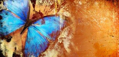 Papiers peints Abstract piantting - golden blue butterfly wings. fine art