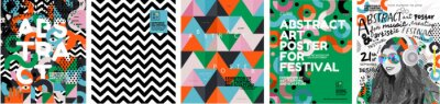 Papiers peints Abstract posters for art and music festivals. Vector illustrations of youth, modern backgrounds, textures and patterns and eclecticism. Drawings and geometric shapes