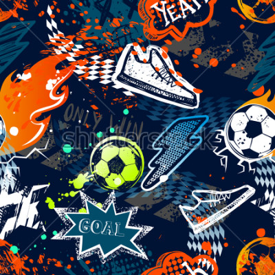 Papiers peints Abstract seamless football pattern. Sport background. Grunge repeated backdrop for boy, textile, clothes,wrapping paper. Colorful print with speech cloud, goal, lightning, fire, soccer ball, sneakers