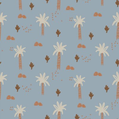 Abstract tropical plants seamless cute pattern. Hand drawn repeat texture for fabric print design. Botanical childish wallpaper.