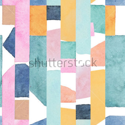 Papiers peints Abstract watercolor seamless pattern. Artwork in geometric modern style.