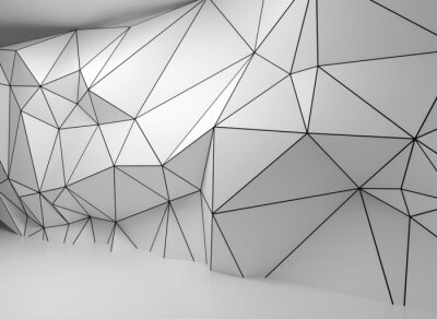 Papiers peints Abstract white 3d interior, polygonal wire-frame wall