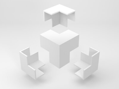 Papiers peints Abstract white geometric installation, flying corners 3d