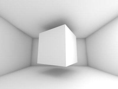 Papiers peints Abstract white room interior, flying cube