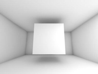Papiers peints Abstract white room interior with flying cube