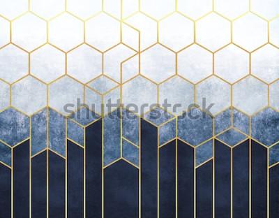 Papiers peints Abstraction géométrique des hexagones sur fond bleu en relief avec des éléments dorés. Fresque pour impression intérieure, Papiers peints.