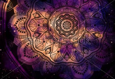 Papiers peints Abstrait ancien géométrique avec fond d'étoile et fond de galaxie coloré, aquarelle art numérique peinture et graphisme mandala