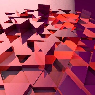 Papiers peints Abstrait arrière-plan 3d avec des triangles polygonaux rouges.