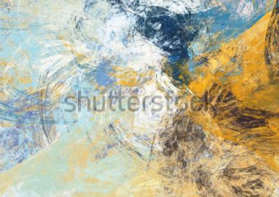 Papiers peints Abstrait beau fond de couleur douce bleue et jaune. Texture de peinture dynamique. Modèle futuriste moderne. Fractal pour la conception graphique créative