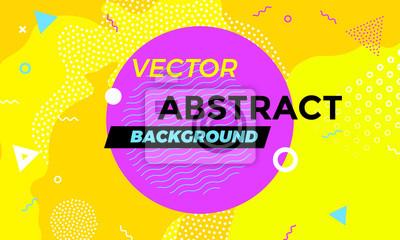 Papiers peints Abstrait coloré bannière ludique avec élément de conception de texture amusant. Vector orange superposition avec des formes géométriques blanches avec ligne et points dans le graphique à la mode