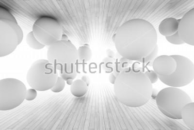 Papiers peints Abstrait géométrique avec des balles dans le tunnel des planches. Illustration 3D