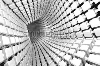 Papiers peints Abstrait géométrique avec un tunnel allant en perspective. Rendu 3d
