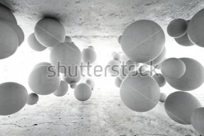Papiers peints Abstrait géométrique de balles en béton. Illustration 3D