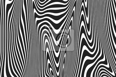 Abstrait motif rayures ondulées noir et blanc du fond de lignes ondulées courbes ondulées. Courbes de fond branché moderne vecteur ou toile de fond géométrique zèbre