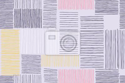 Abstrait patchwork de motif art de lignes et de traits de doodle. Vector giclée esquisse patch avec motif et formes carrées sur fond blanc