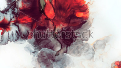 Papiers peints Abstrait rouge Macro cellules. Fleur rouge Peintures acryliques. Texture marbre Art contemporain.