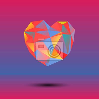 Abstrait vector coeur polygonale dans le style de triangle