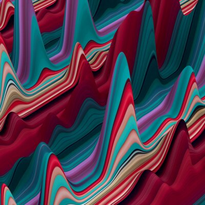 Papiers peints abstraites lignes ondulées colorées, 3d